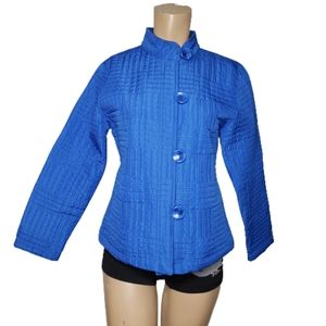 ANALOGY Royal Blue Quilted Button Front Ja…
